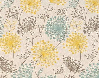 Pair of Dandelion Curtain Panels with Rod Pockets, Collins Irish Daisy Linen Laken, Blue Yellow Gray Natural, Choose Size