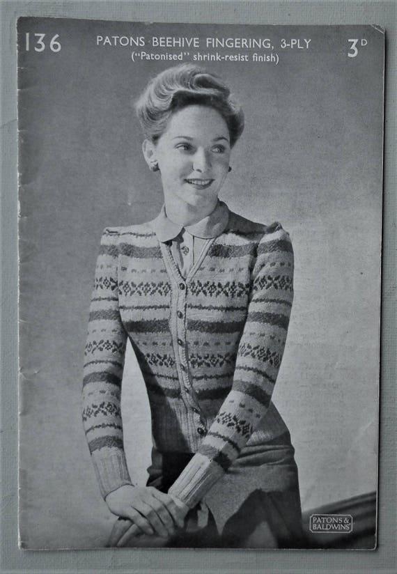 Vintage 30s 40s Fair Isle Knitting Pattern Women's
