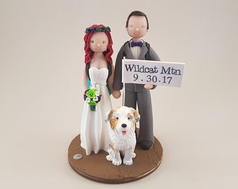 Bride & Groom Hiking Theme Personalized Wedding Cake Topper
