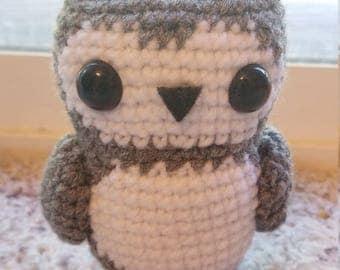 Grey Tea Owl Crochet Amigurumi Acrylic Doll