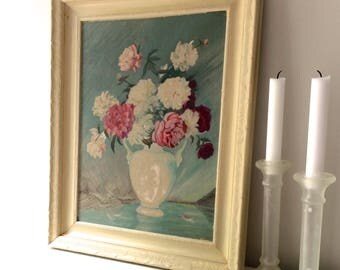 VINTAGE FLOWER PAINTING, cottage decor, rose painting, shabby chic painting, wooden cream frame, turquoise background, vintage painting,
