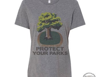 Womens Boyfriend Tee PROTECT YOUR PARKS relaxed jersey T-shirt - s m l xl xxl - Hand Screen Printed - Zen Threads + Bella Canvas 6400