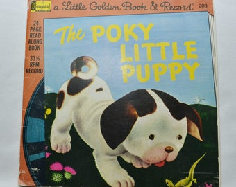 Vintage Lot of 2 Little Golden Book Storybook Record 1970s 7 inch The Poky Little Puppy and Little Engine That Could