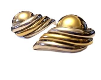 Lost Wax Earrings, Sterling Silver Earrings, Two Tone Sterling Lost Wax Technique, 1980s Brutalist Designer Earrings, Simon Sebbag Argent