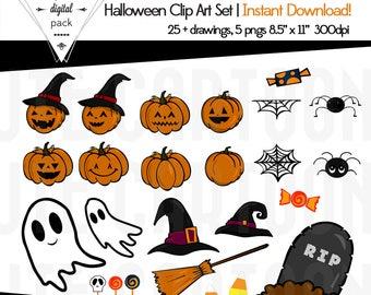 Halloween Clip Art  Instant Download Scrapbook Set
