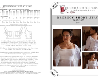 PDF DOWNLOAD Regency Short Stays Corset Pattern Size S -- Printable Costume Sewing Pattern for Empire, Napoleonic, Jane Austen
