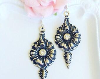 Victorian Earrings - Silver - Flower Earrings - Gift - MORNING GLORY