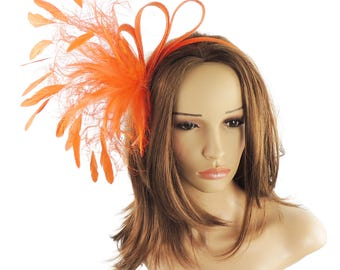 Charley Orange Fascinator Hat for Weddings, Races, and Special Events With Headband (in 40 colours)