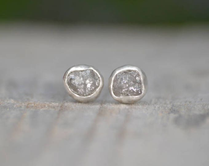 Raw Diamond Earring Studs, Total 2.0ct Diamonds, Gray Diamond Wedding Gift, April Birthstone Gift, Handmade In England
