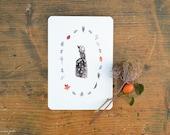 Winter Witch cartolina acquerello con una piccola strega e foglie e piante