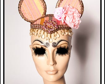 Sweetie Pie.... Pink and Pastel Blue Striped Little Mouse Ears Fascinator Headdress