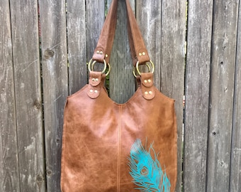 PEACOCK BAG - as seen on Kristen Stewart - large leather tote bag - custom large leather bag - brown leather purse - large leather handbag