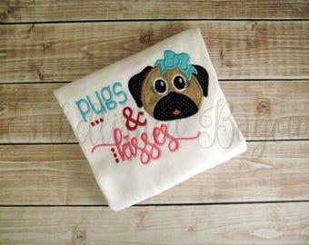 Pugs & Kisses Valentine's Day Ruffle T-shirt or Onesie Bodysuit for Girls