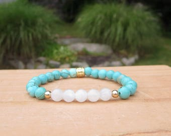 Simple Gift for You Girlfriend, Moonstone Bracelet, Idea for Woman, Gold and Turquoise, Metaphysical Stone Jewelry, Gemstone Accessories