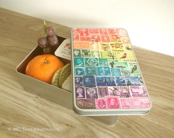 Rainbow Lunch Tin + optional Lunch Bag - Metal Lunchbox