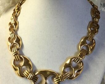 MAKE an OFFER! Vintage Signed Oscar de la Renta OR Gold Tone Metal Link Necklace Fancy Chain Career Day Wear Haute Couture Designer