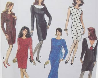 Misses' Formal Gown  or Cocktail Dress Simplicity 7497 Sewing Pattern, Long Evening Gown or Sheath Dress, Deep V Back and Bow Size 8 - 14