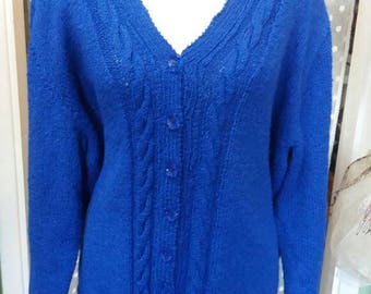 Ladies royal blue handknitted cardigan - 48 inch chest - Plus size