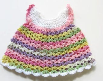 Crochet Baby Dress  - Pastel Baby Dress  - Baby Girl Dress - Size 3 to 6 Months - Ready To Ship