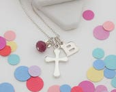 Silver Cross Necklace  Cross Pendant  Personalised July Birthstone necklace  Silver Jewellery  Christening Gift  First Communion Gift