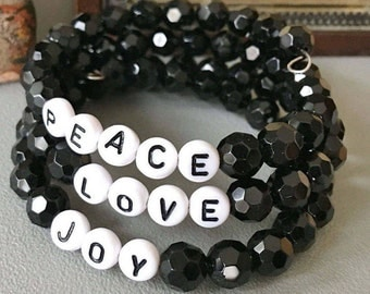 One wrap bracelet - Joy Love Peace letter beads - Black faceted glass beads - One of a Kind - bycat
