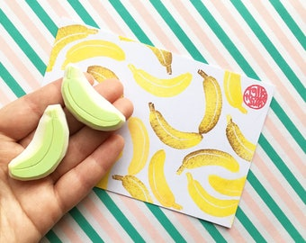 banana rubber stamps. tropical fruit hand carved stamp. jungle stamp. birthday scrapbooking. diy party favor bags. gift wrapping. set of 2