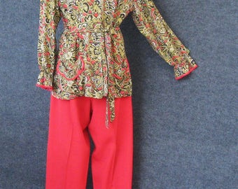 40s 50s Lounge Wear Set, Vintage Red Rayon Side Button Pants, Paisley Blouse, Peggy Jean Daytime Apparel, Hostess Pajamas PJ's, Bust 35