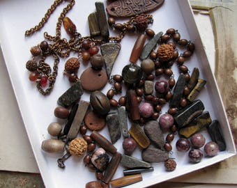 bead soup - destash lot of brown and purple stone, bone, wood, pottery, rosary chain and more - assemblage supplies