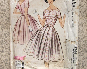"1960s Vintage Sewing Pattern box pleat dress - McCall's 5764 - 32"" Uncut - teen"