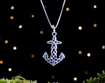 Sterling Silver Celtic Anchor - 3D Double Sided - (Pendant or Necklace)