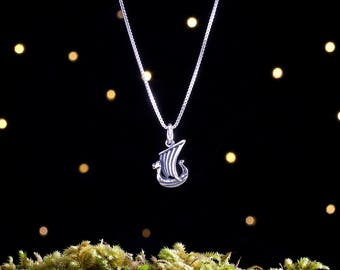 Sterling Silver Viking Ship - Small, 3D Double Sided - (Charm, Necklace, or Earrings)