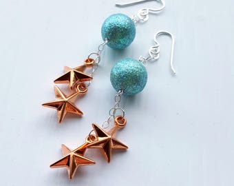 SALE twinkle twinkle - earrings - vintage lucite and sterling - stars glitter earrings