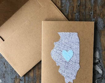 Recycled Envelope Card  Illinois Love State Heart Blank Inside