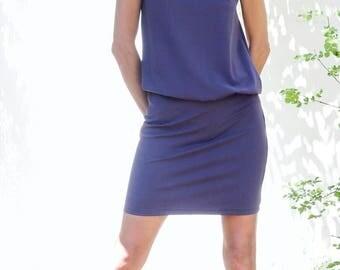 Purple blouson dress  L - XL  /Mini dress/ Purple dress / Summer dress/ boat neckline dress/ Shihar / sleeveless dress/ Purple sleeveless