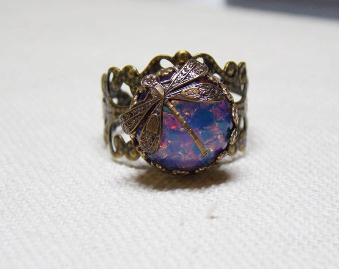 Dragon Fly Antique Style Adjustable Ring Victorian Renaissance Brass Czech Opal Cabochon Rustic Filigree Statement Art Nouveau Ring