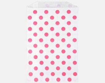 Pink Polka Dot party bags - Pink Dot Merchandise Bag - Pink Polka dot middy bag - 6x9 polka dot party bag - Polka Dot Candy Buffet bag