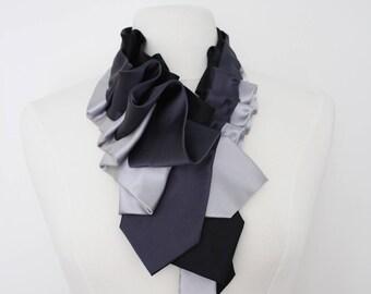 Lapel in Gray Color Block - Edwardian Silk Ruffle Couture Necktie Collar