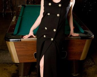 Black Wool Dress, Black Long Dress, Black Formal Dress, 1960's Long Dress, Plus Size, Sleeveless Dress, Dress with Slit, Curvy Girl Dress