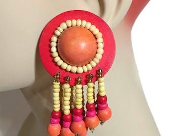 Tropical Earrings, Orange, Pink, Vintage Earrings ,Huge, Long,1980s, 80s, Oversized, Massive, Wood, Wooden,  Pierced, NOS, Beaded, Kitschy