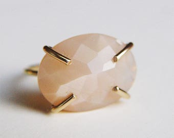Peach Moonstone Oval Gold Ring OOAK