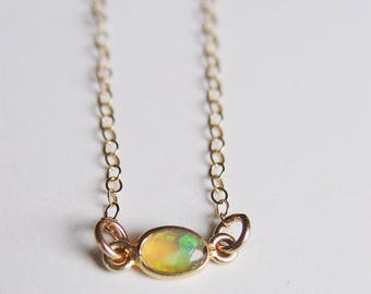 Oval Opal Gold Necklace OOAK