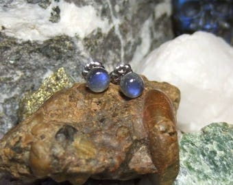 Labradorescence Exists 6mm Round Cabochon Labradorite Stud Earrings Earings Titanium Post and Clutch Flash Sparkly Magic Hypo Allergenic