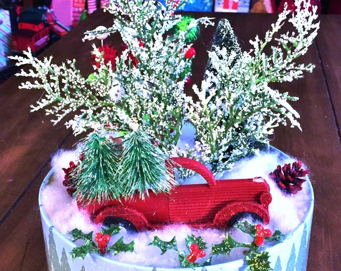 SALE - Rustic Truck Trees Red White Green - Winter Holiday Christmas Centerpiece