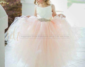 NEW! The Ella Dress in Ivory and Blush with Deluxe Rhinestone Sash