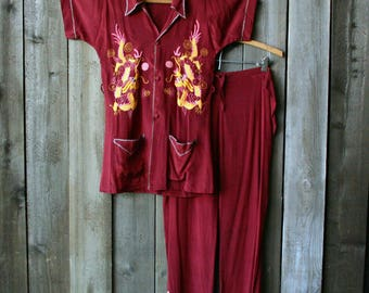 40s Asian Embroidered Silk Set Pajamas Lounge Wear Festival Dragon Bohemian Fashion Burgundy Red Vintage From Nowvintage on Etsy