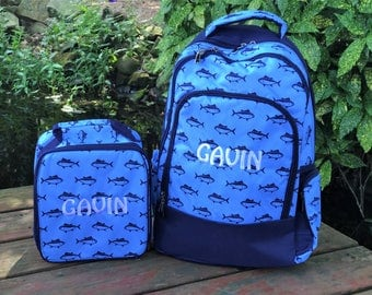 Boys Backpack and Lunchbag -  Back to School - Fish - Finn Set - Nautical - Personalized Boys Backpack - Backpack Set - Monogrammed Backpack