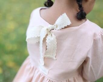Peach Linen Blouse | Linen Blouse | Linen Toddler Shirt | Peach Girls Blouse | Girls Linen Top | Linen Shirt | Linen and Lace Top | Blouse