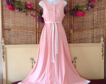 Vintage 70's Nylon Nightgown Long Flowing Gossard Artemis Cotton Candy Pink M