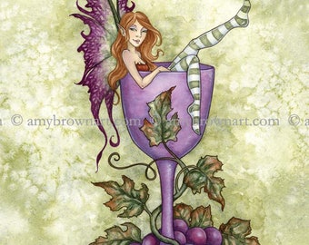 8X10 Wine Fae fairy PRINT by Amy Brown