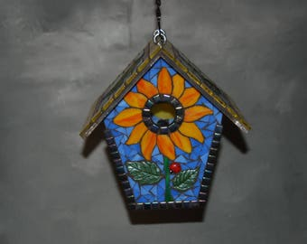 Birdhouse Stained Glass Mosaic Sunflower with Goldfinch